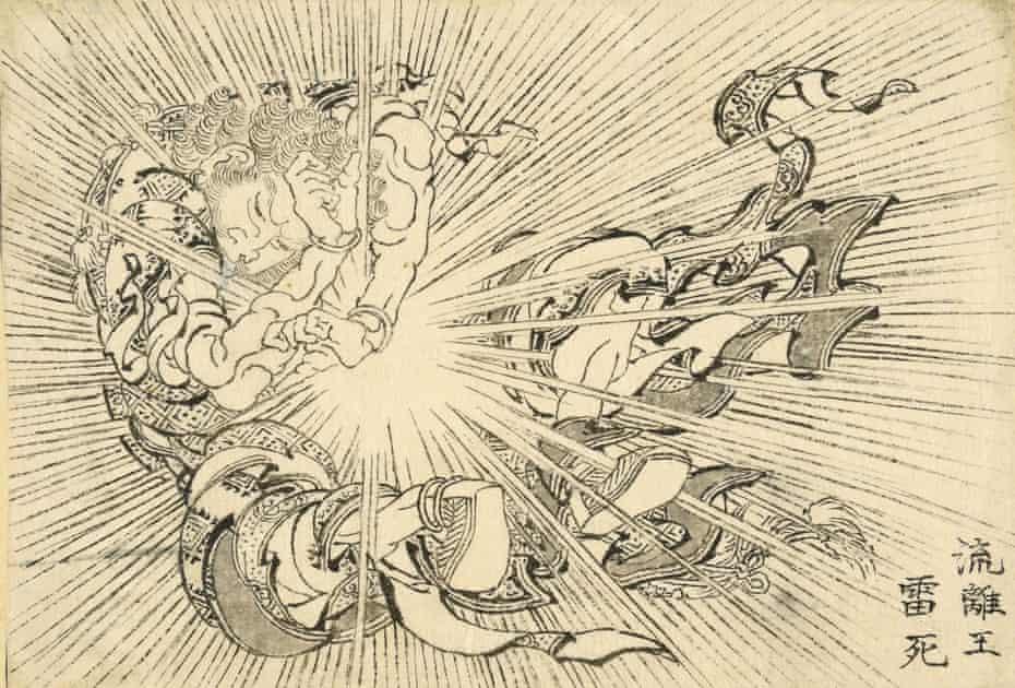 A Bolt of Lightning Strikes Virūdhaka Dead by Hokusai