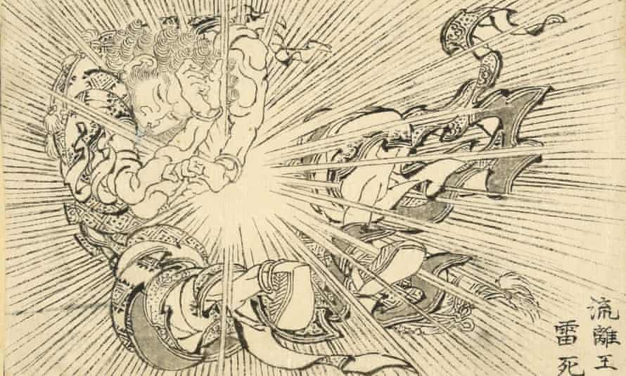 A bolt of lightning strikes Virūdhaka dead: a work by Hokusai inspired by an Indian myth