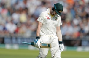 Steve Smith walks off after dismissal by Woakes.