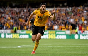 Raul Jimenez celebrates scoring against Burnley and win the game 1-0 for Wolves at Molineux.