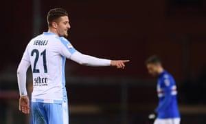 Sergej Milinkovic-Savic celebrates after scoring for Lazio against Sampdoria in Serie A.