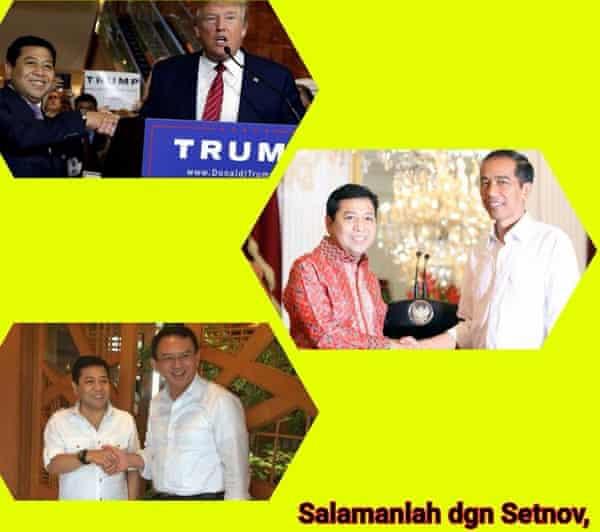 The meme poking fun at former house speaker Setya Novanto's meeting with Donald Trump.