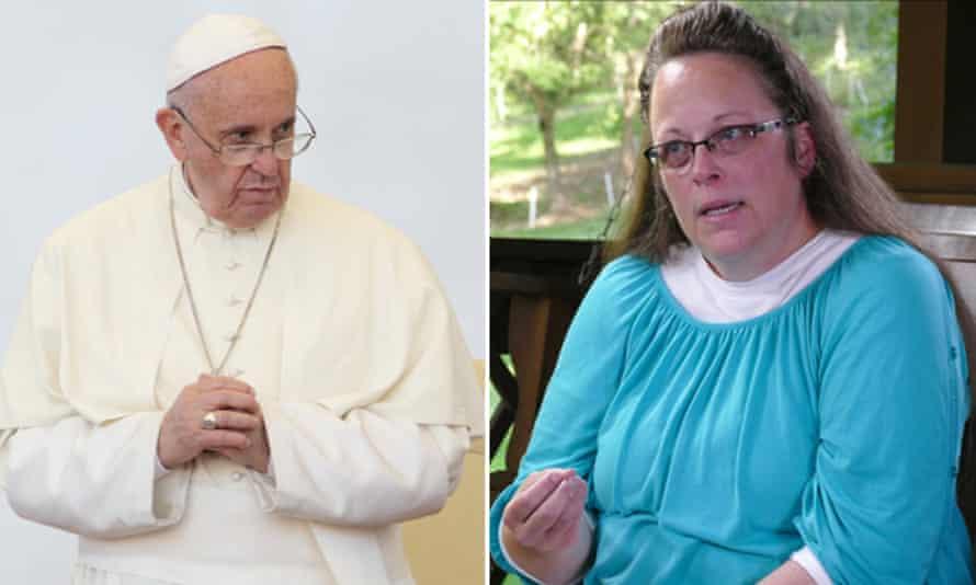 Composite of Pope Francis and Kim Davis