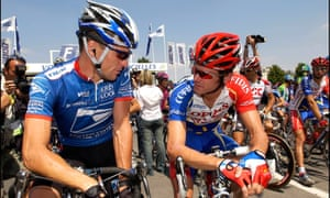Lance Armstrong and David Millar chat in Troyes during the 2003 Tour de France.