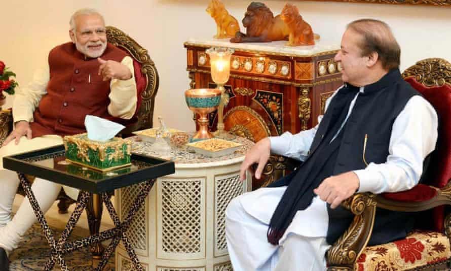 Pakistani prime minister Nawaz Sharif (right) talks to his Indian counterpart Narendra Modi during his visit to Lahore.