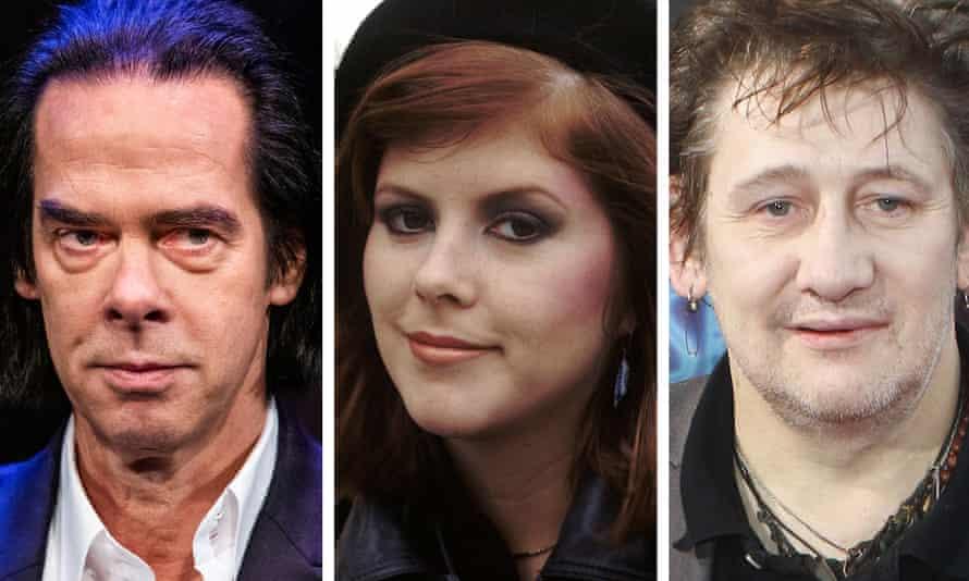 (L-R) Nick Cave, Kirsty MacColl and Shane MacGowan.