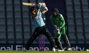 England's Sam Billings plays the ball away as Ireland's Lorcan Tucker waits for chance in the first ODI at Southampton.