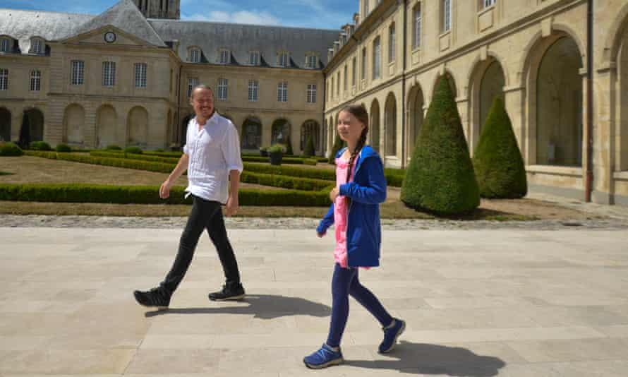 Greta Thunberg with her father, Svante, in Caen, France, 2019.