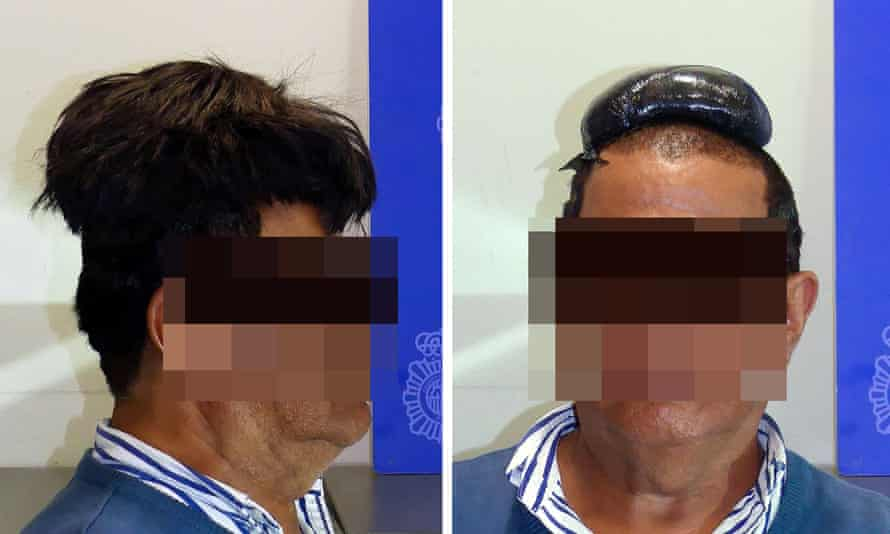 A man poses with and without a wig covering a drug package after being arrested at Barcelona airport