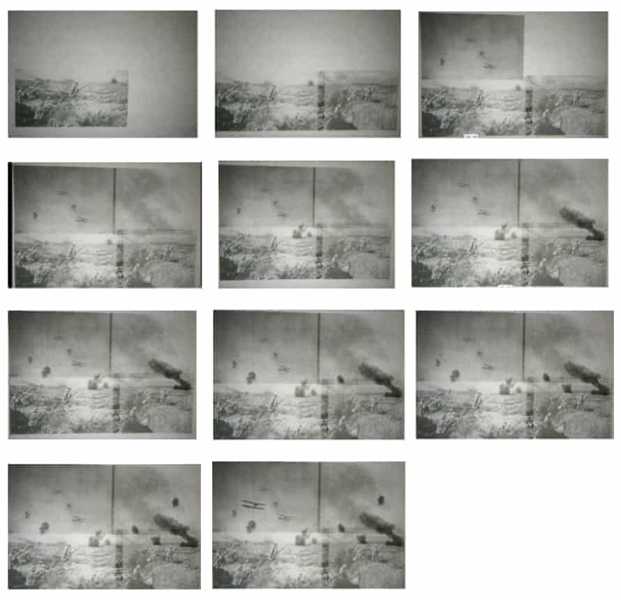 An illustration of how 12 photographs were fused together to form the composite known as The Raid.