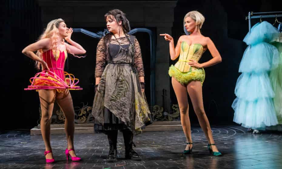 Carrie Hope Fletcher, centre, in the title role with Laura Baldwin and Georgina Castle as the stepsisters in Andrew Lloyd Webber's Cinderella.
