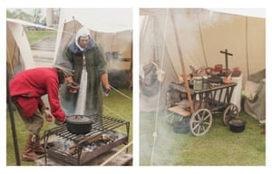 Re-enactors of the Wardour garrison from the 17th-century English civil war cook for their camp