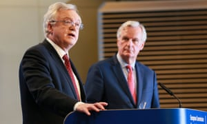 David Davis and Michel Barnier in Brussels on Friday.