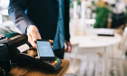 Man paying with smartphone