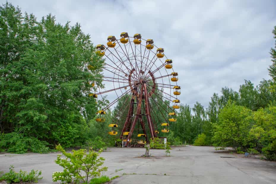 The ferris wheel in the abandoned amusement park in Pripyat has become iconic of the Chernobyl dystopia.