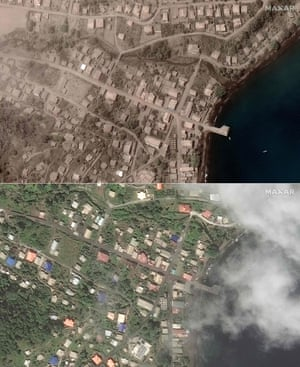 Satellite photos show the Richmond Vale waterfront in St Vincent before and after it was covered in volcanic ash.