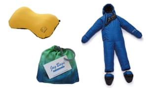 Inflatable pillow, silk sleeping bag liner and wearable sleep bag