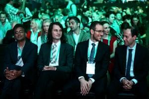 Fields awards ceremony 2018, showing medal winners Akshay Venkatesh, Peter Scholze, Alessio Figalli and Caucher Birkar.