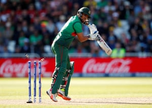Bangladesh's Sabbir Rahman is bowled out.