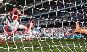 Manchester City's Gabriel Jesus scores their third goal.