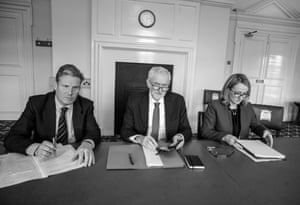 Corbyn with Keir Starmer and Rebecca Long-Bailey before going to meeting with Prime minister May