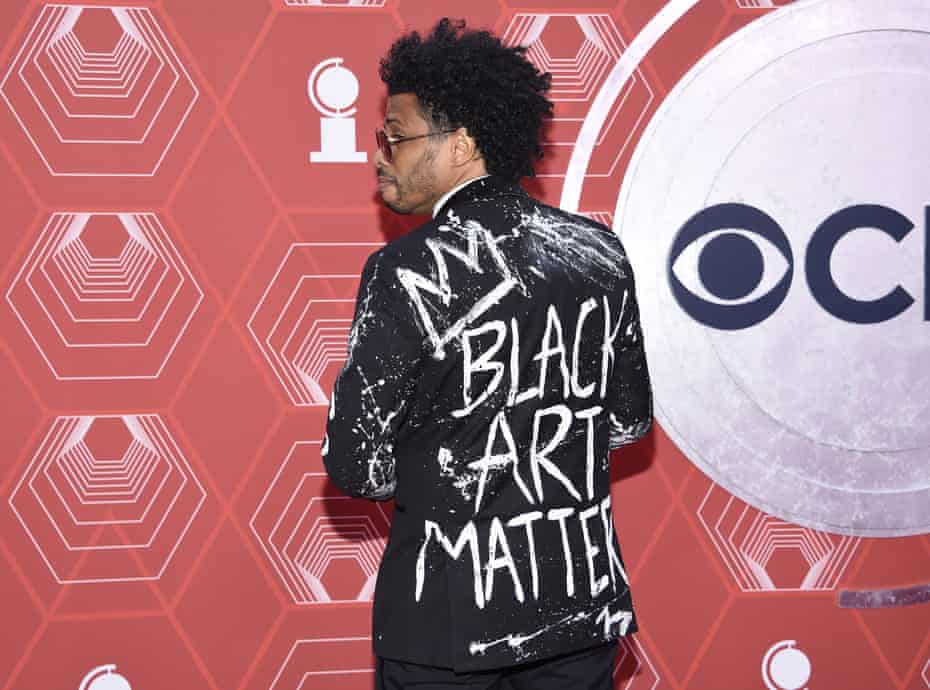 Chester Gregory wearing his 'Black Art Matters' statement at the 74th annual Tony Awards in New York.
