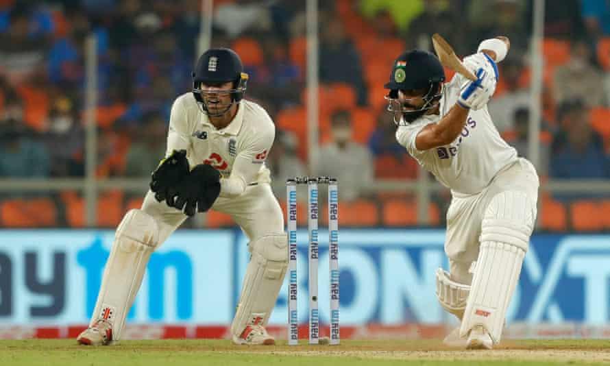 India captain Virat Kohli hits a boundary in Ahmedabad