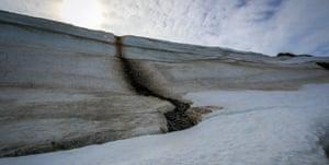 A view of the Collins glacier, located near Uruguay's Antarctic scientific base of Artigas.