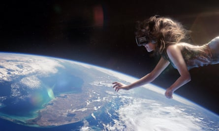 An artist's impression of a woman wearing VR goggles floating above the Earth