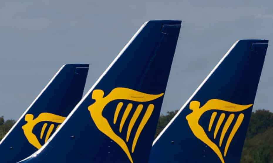 Ryanair aircraft are parked at the Stansted Airport