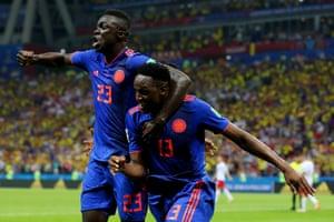 Yerry Mina of Colombia celebrates.