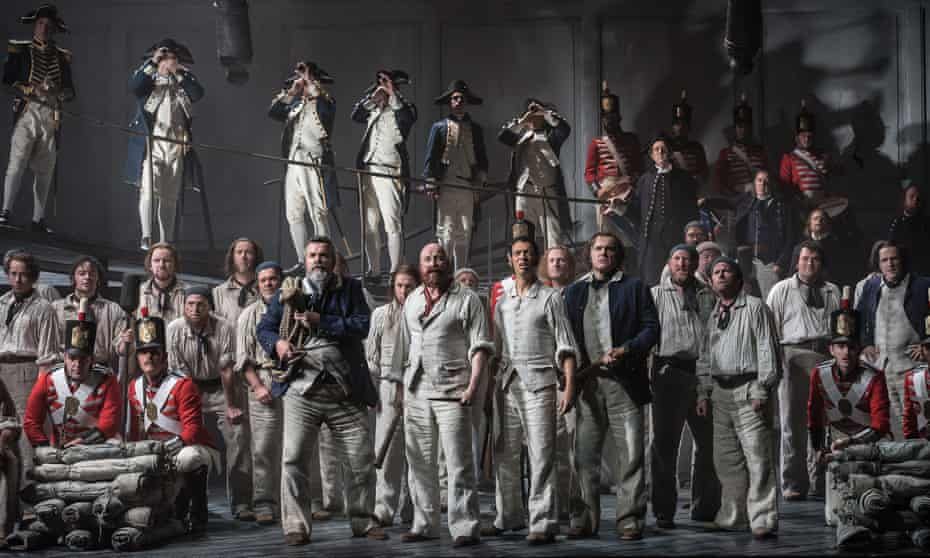 Stephen Richardson (Dansker), Daniel Norman (Red Whiskers), Roderick Williams (Billy Budd), Eddie Wade (Donald) and members of the cast and the chorus of Opera North in Billy Budd.