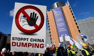 European steelworkers protest outside the European commission in Brussels against Chinese steel dumping