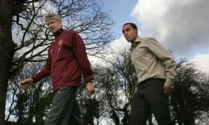 Theo Walcott, aged 16, walks with Arsène Wenger on the day the forward was presented as an Arsenal player.