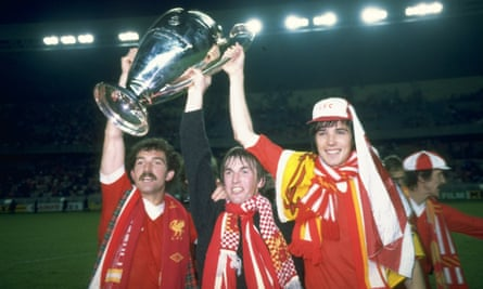 Graeme Souness, Kenny Dalglish and Alan Hansen with the 1981 European Cup in Paris.