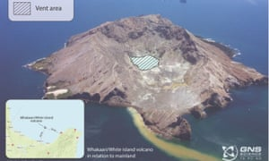 Photo of Whakaari/White Island from 2004, showing the marked vent area relating to the 2019 eruption.