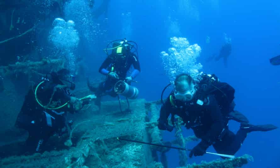 Researchers and students from the University of Plymouth during a lionfish removal event in June 2021