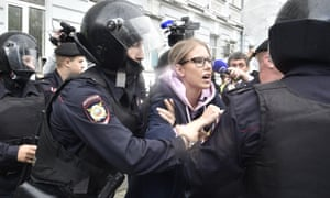 Police officers detain would-be opposition candidate Lyubov Sobol in central Moscow