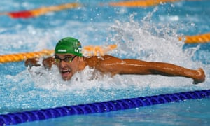 South Africa's Chad Le Clos powers through the water on his way to winning gold in the men's 100m butterfly.
