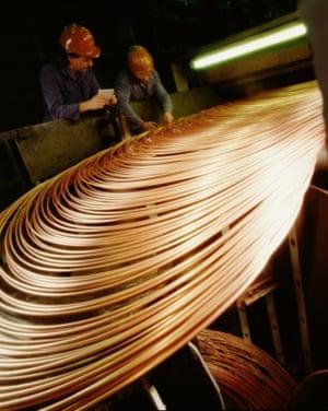 Copper tubing manufacturing.