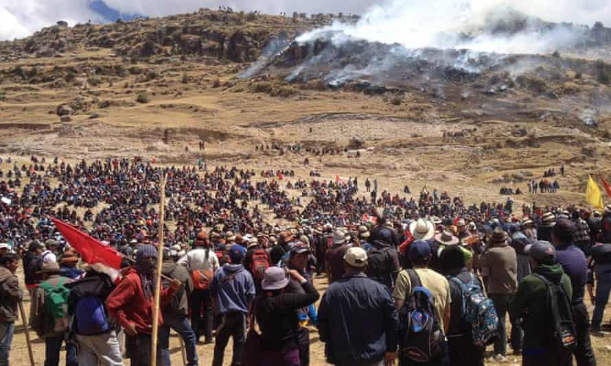 Hundreds of protesting farmers at the Las Bambas copper mining project in Fuerabamba, Peru.