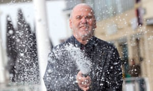 Kevin Francis from Fareham spraying champagne as he celebratesg his £1m national lottery win.
