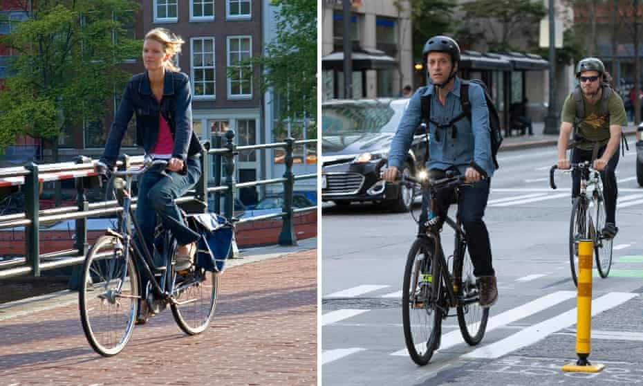 Cyclists in Amsterdam, left, and Seattle, with and without cycle helmets