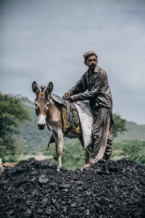 A donkey outside the coal mine.