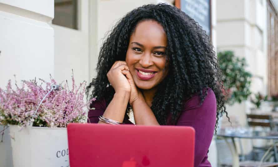 Chichi Eruchalu sits behind her laptop