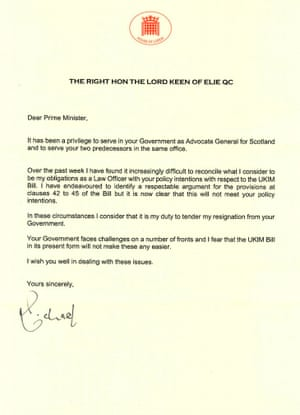 Lord Keen's letter