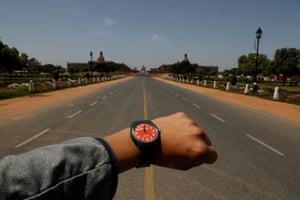 An empty road at Rajpath in New Delhi, India