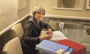 Theresa May works on her speech for the Conservative party conference.