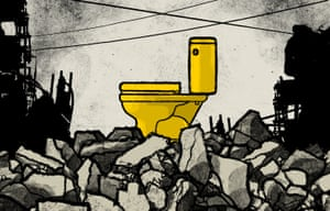 Illustration of a gold toilet amid city ruins by David Foldvari.