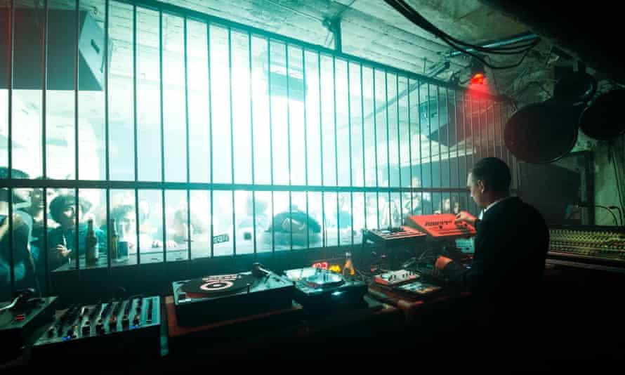 A DJ behind bars at Tresor